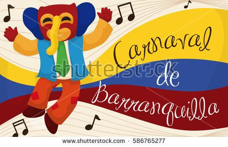 Commemorative banner with happy marimonda character listening traditional Colombian folklore music in the Barranquilla's Carnival (written in Spanish).