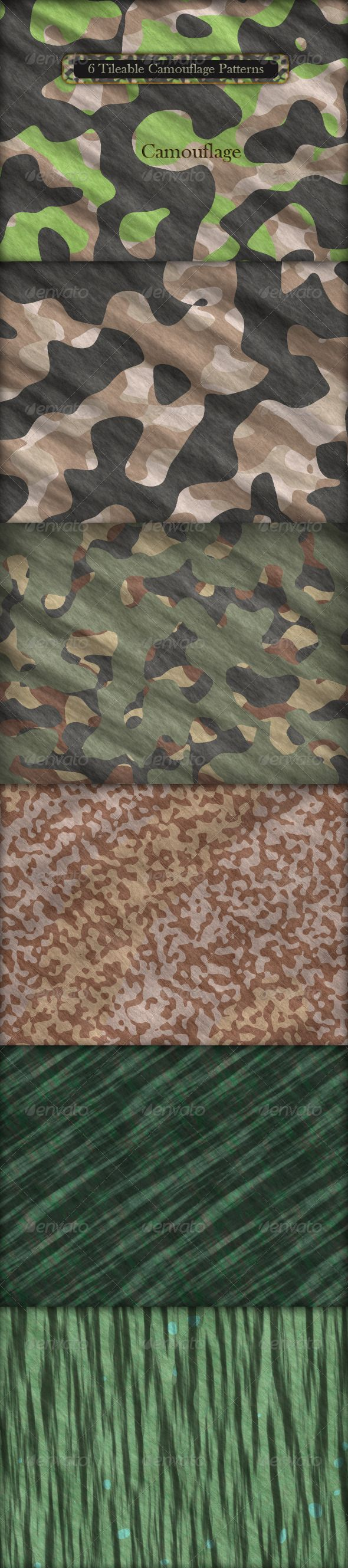 """6 Tileable Camouflage Patterns  #GraphicRiver         6 Tileable Realistic Camouflage Texture Patterns   Includes:   1 .PAT File with 6 patterns in resolution (600px * 600px)   6 .PSD Files (1600px * 1200px) with 3 layers: curves, gradient and pattern   6 Camouflage Tiles (600px * 600px) in .JPG Format   .PDF Help File """"How to install Patterns in Adobe Photoshop""""   Njoy!      Created: 3March11 Add-onFilesIncluded: LayeredPSD #PhotoshopPAT MinimumAdobeCSVersion: CS Tags: 3dartist #army…"""
