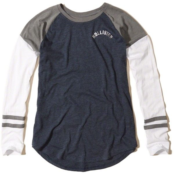 Hollister Colorblock Logo Graphic Tee ($12) ❤ liked on Polyvore featuring tops, t-shirts, navy, navy stripe t shirt, raglan tee, striped t shirt, crew neck tee and curved hem tee
