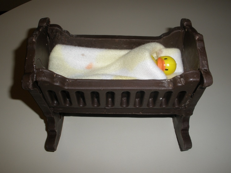Chocolate baby-duck cradle I molded and assembled for baby shower