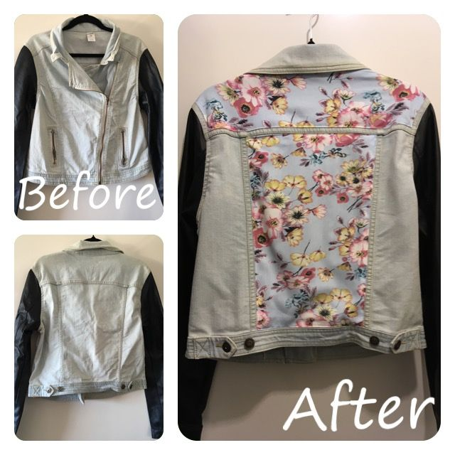 Refashioned jacket, added fabric to a cool jacket for a cooler vibe and updated look.  @trixiescraftco