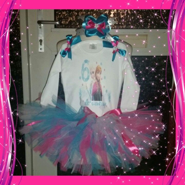 Frozen 6th birthday tutu dress/outfit. Verjaardag tutu setje van tule.
