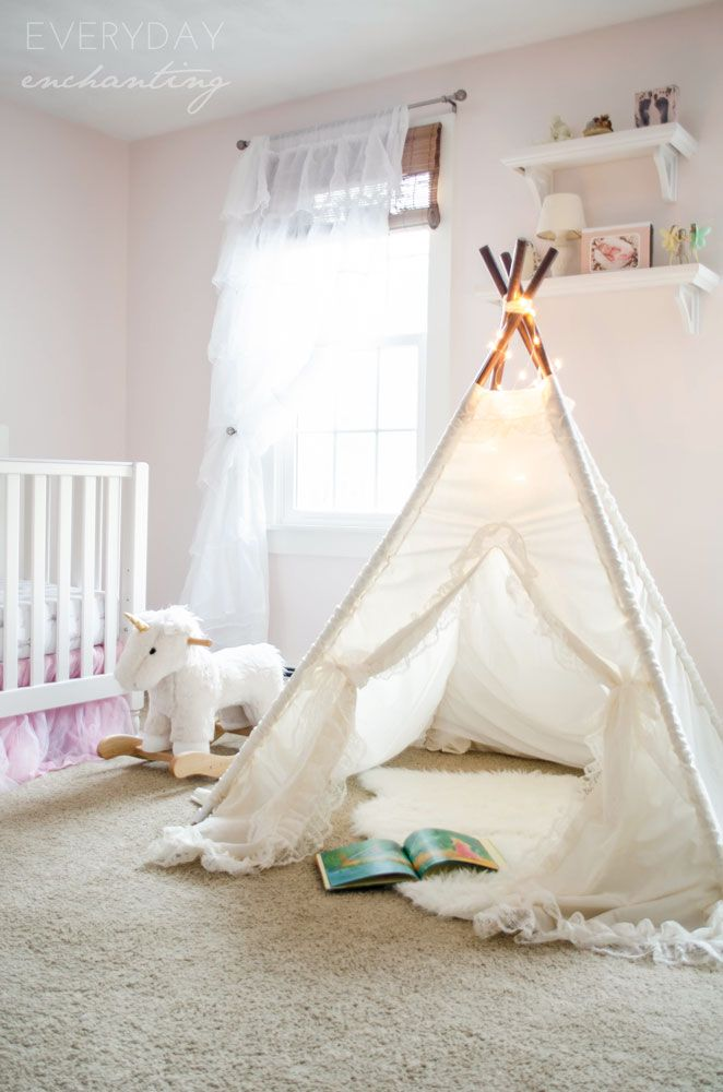 A Littler Retreat   We created this little reading retreat for the nursery with a lace teepee from Sugar Shacks Teepees.