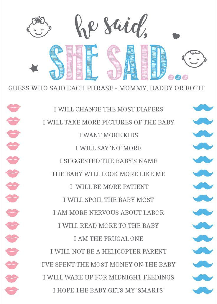 He Said She Said Baby Shower Game Gender Reveal Game Baby Shower Ideas Blue Or Pink Gender Reveal Games Gender Reveal Party Games Baby Shower Gender Reveal