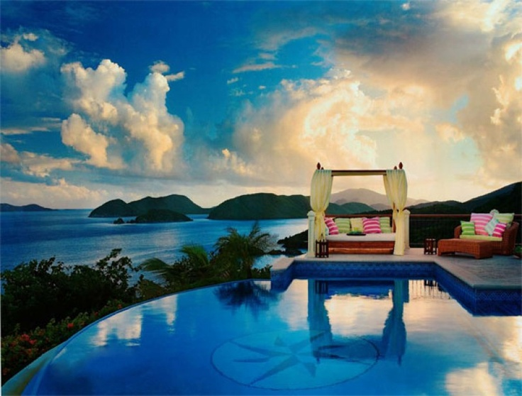 One of the most romantic images from the North Shore of St. John | Villas CaribeBar Design, Dreams Home Design, Favorite Places, Tropical Design, Tropical Pool, Beds Design, Coastal Design, Pools Design, Virgin Islands