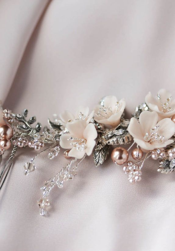 LE POEME silver blush wedding headpiece 12