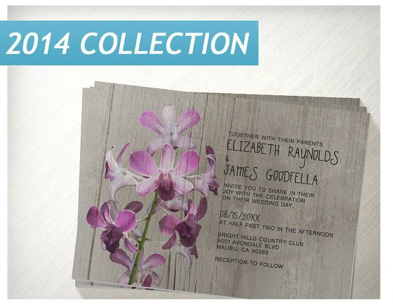 Rustic Orchid Wedding Invitations