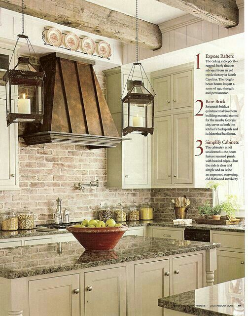 .♥ Copper range hoods, exposed brick, wooden beams, and cabinet color