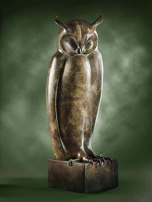 A bronze sculpture of a Long Eared Owl, asleep in the forest. A peaceful image which was the model for the Monumental Owl below. An edition of nine.