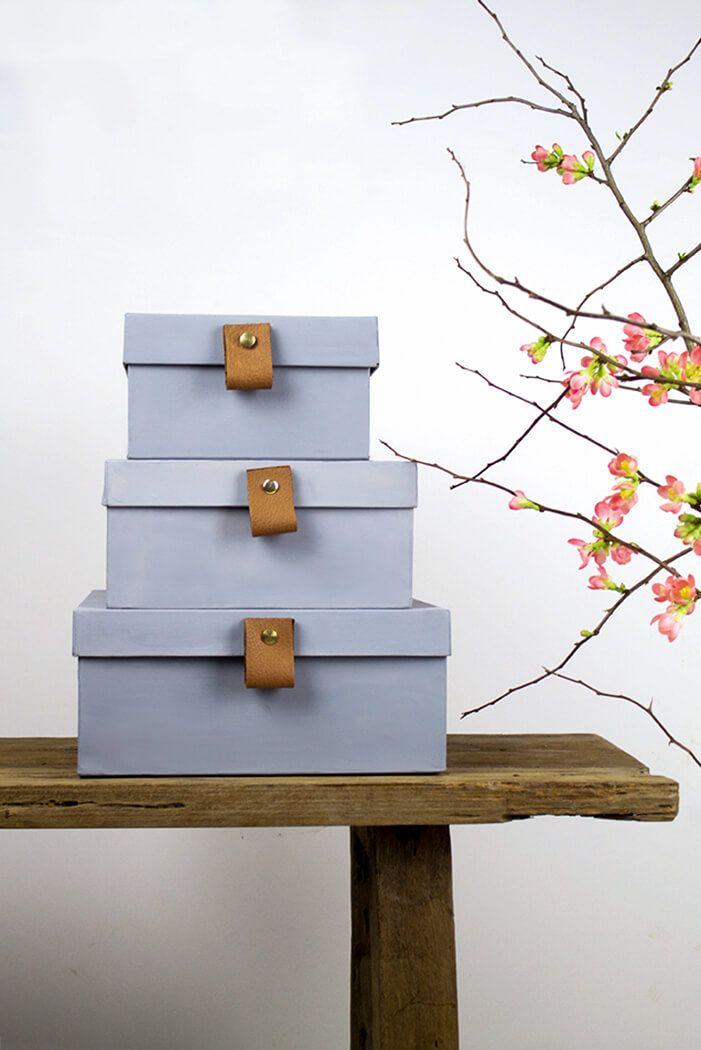 diy graue boxen mit lederschlaufen anleitung lindalovesde diy blog aus berlin - Kaminumhang Dekorationen