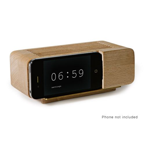Areaware Jonas Alarm Dock, recharges iphone and returns alarm to an iconic form: Alarmdock, Areawar Alarm, Alarm Clocks, Wood, Iphone Alarm, Alarm Dock, Jonas Damon, Alarmclock, Iphone Dock