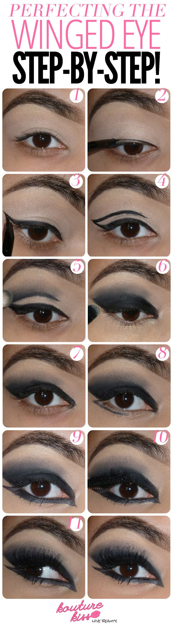10 Creative And Useful Makeup Tutorials, Perfecting The Winged Eye (use different colors)