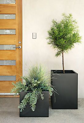 Our square stainless steel planters give your plants a stylish home, inside or outdoors. Handcrafted to weather the elements with ease, these modern planters come in sizes and shapes that look great when grouped together.