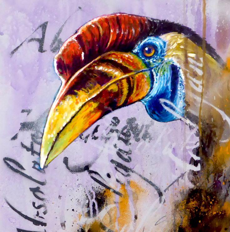 Absolute Hooligan Hornbill - Montana Gold and Liquitex spray paint exotic bird graffiti art by Tim Niall-Harris - Sub Urban Bird Artist
