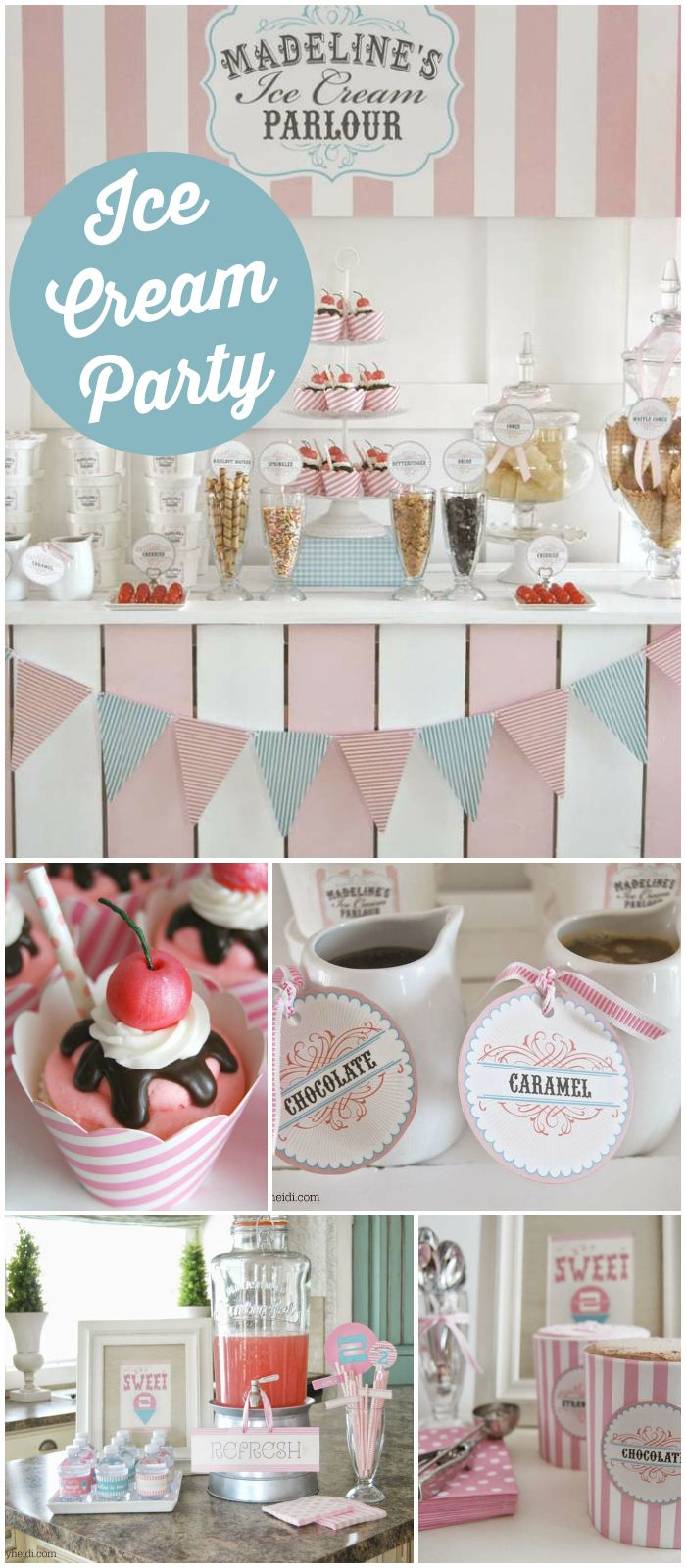 An old fashioned ice cream birthday party with fun cupcakes and a homemade ice cream stand! See more party ideas at CatchMyParty.com!