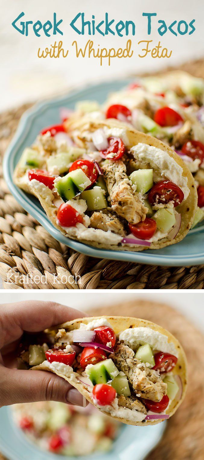 Greek Chicken Tacos with Whipped Feta - Krafted Koch - Soft corn tortillas filled with Mediterranean spiced, grilled chicken, whipped feta and fresh vegetables.