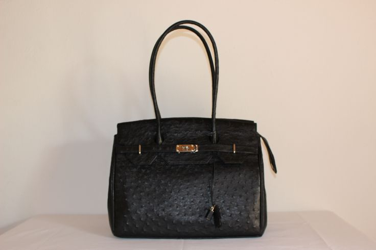 Nadia - Noble Stone, Genuine African Ostrich Leather Handbag.