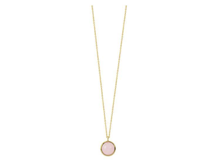 ARBUS-GOLD Necklace with cabochon cut gem-stone pendant, 40 cm + extension