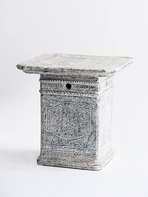 Terracotta Side Table - White Grey  Find more at www.decord.gr #livingroom #wood #table #coffeetable #sidetable #ethnic #bali #decord