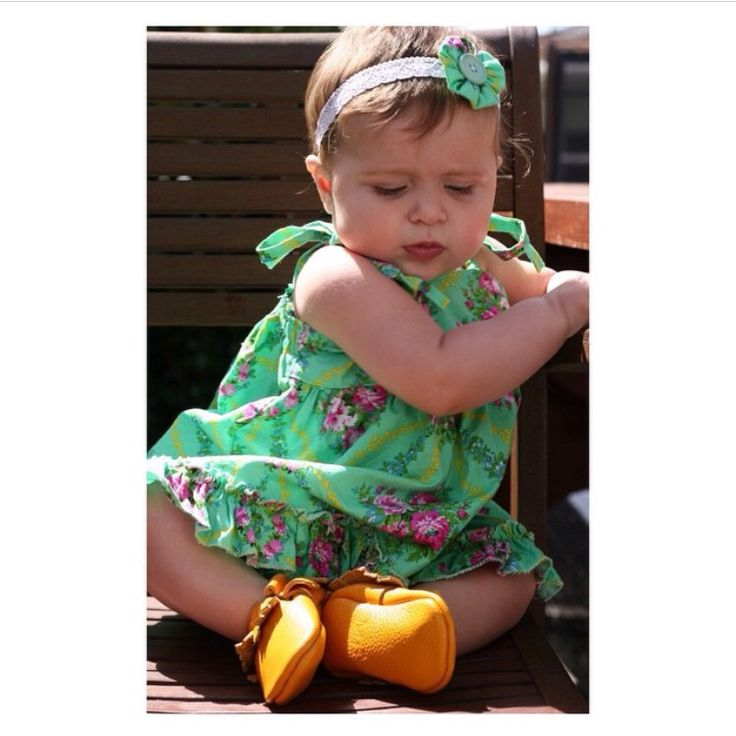 Gorgeous Scarlett in her sunshine yellow baby moccasins! We love her beautiful ootd, she has the best baby fashion ever! Get yours at www.madelinespocket.com.au xx