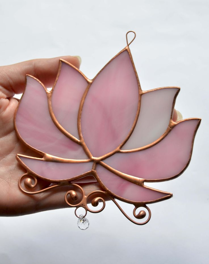 Stained glass window hanging, lotus flower, crystal hanging window suncatcher