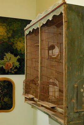 Vintage painted canary cage ~ Some one had so many canarys that they needed such a large cage ~ oh the lovely songs they must have enjoyed every day :)