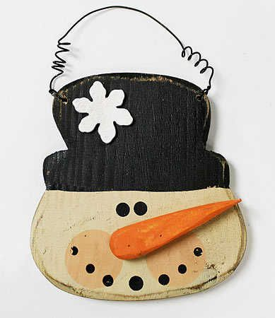 "4-1/2"" Primitive Painted Wood Snowman On Wire"