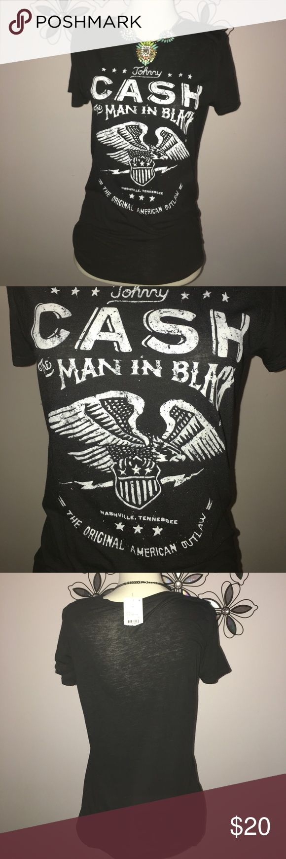 Johnny CASH T-shirt Johnny CASH T-shirt. Brand new with tags. Size Small/medium.Necklace not included! boutique Tops Tees - Short Sleeve