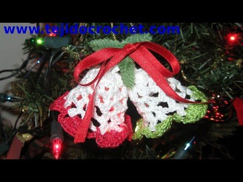 Campanas de Navidad tejidas a crochet - YouTube