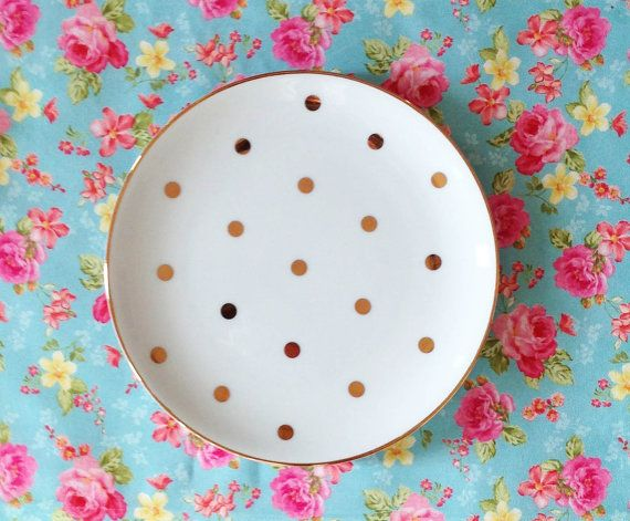 Golden Dots Porcelain Plate by secdus on Etsy, $16.50