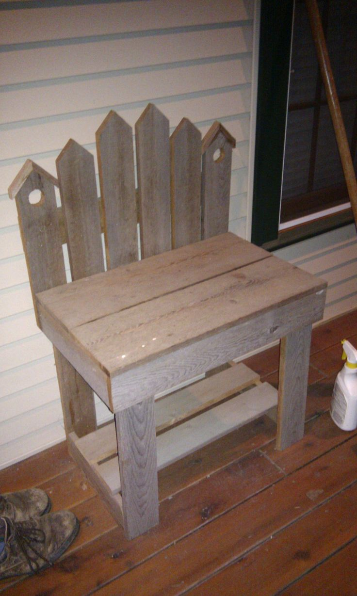Small bench made out of reclaimed barn wood I would want