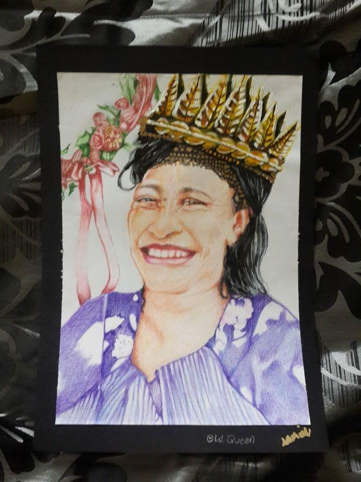 """Portrait of my Mother Colored Pencils """"Old Queen"""""""