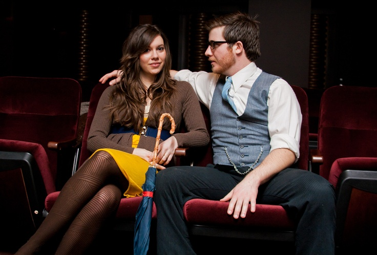 awesome photo session inside a movie theatre. Fun vintage style.