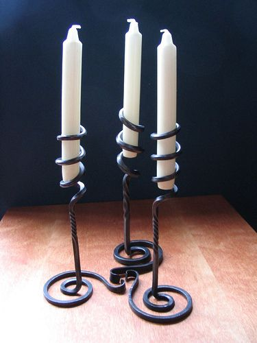 Blacksmith made Spiral Candlesticks by Adrian The Smith at Trinity Forge, via Flickr
