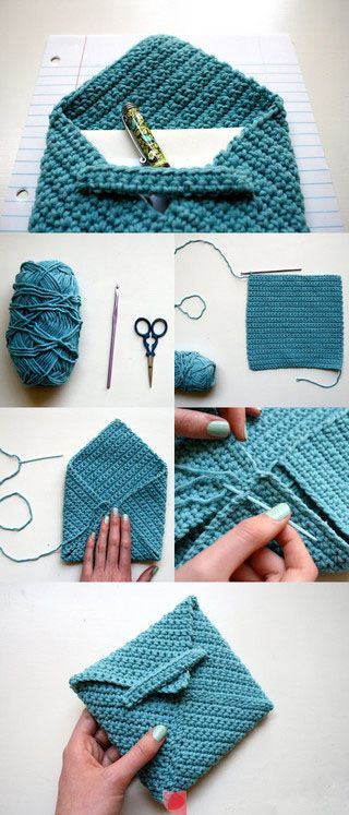 Crocheted Envelope for Stationary and Pen via Repiny.