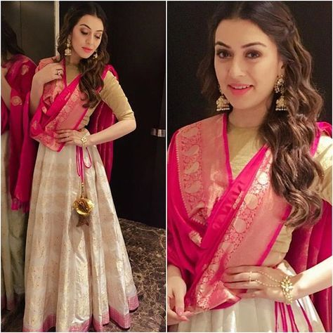 The contrast of pink and golden lehnga