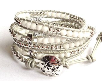 White and Silver Leather Wrap Bracelet