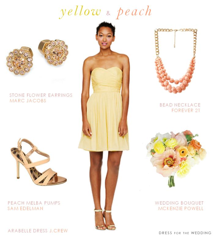 Yellow and Peach Wedding Style #Bridesmaids #ColorMeHappy via @Dress for the Wedding