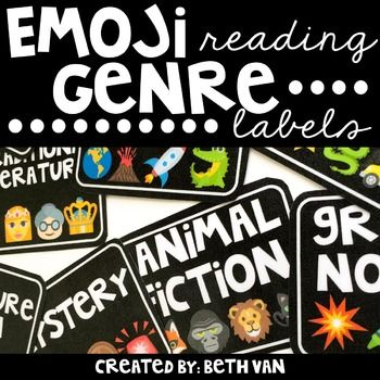 EMOJI's are everywherewhy not include them with your classroom library?!These genre labels are perfect to organize your library shelves or book bins!The 16 Genre Labels included are:FictionNonfictionSports FictionAutobiography, Biography, and Memoir (one label)Realistic FictionHistorical FictionMysteryScience FictionFantasyAnimal FictionPoetryGreek MythologyGraphic NovelsAdventure FictionTraditional LiteratureInformational3 different color backgrounds are included: Black, White, and Brights…