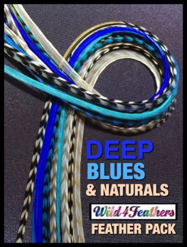 Feather Hair Extensions Grizzly Deep Blues Natural 20Pack 4FREE XL