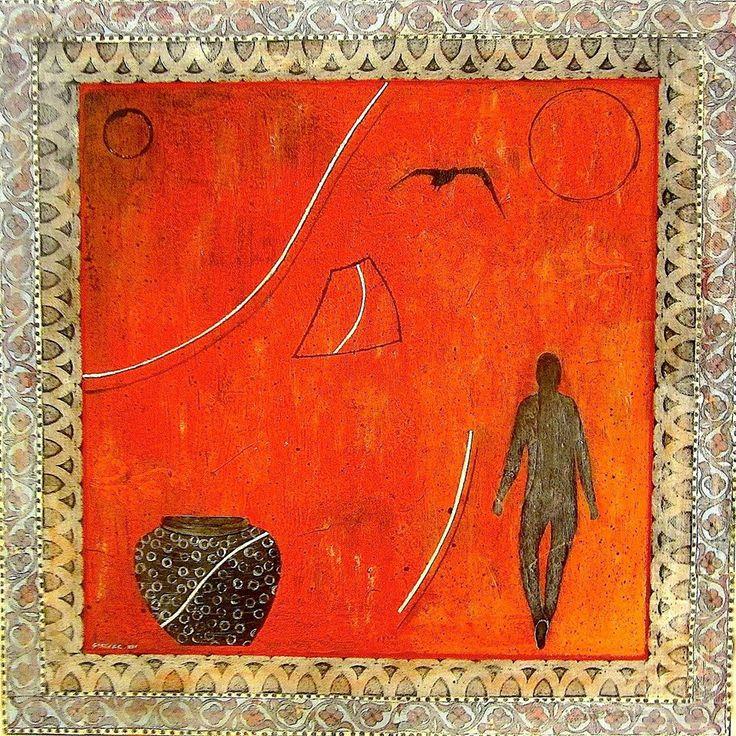 Gray Vase - Mixed Media  50 cm x 50 cm