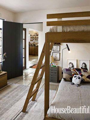 Bunk beds leave room to play. Design: Pamela Shamshiri. housebeautiful.com. #bunk_beds #kids_rooms