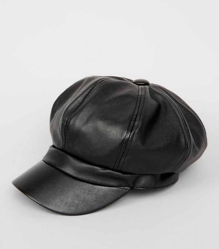 Black Leather Look Baker Boy Hat  dab263a92f4