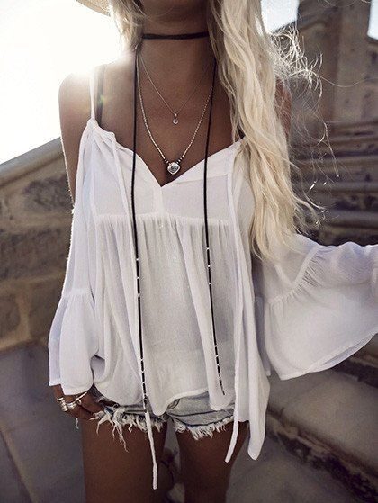 $33.99 Sexy Off Shoulder Halter White Solid Top