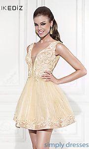 Buy Short V-Neck Babydoll Dress by Tarki Ediz at SimplyDresses