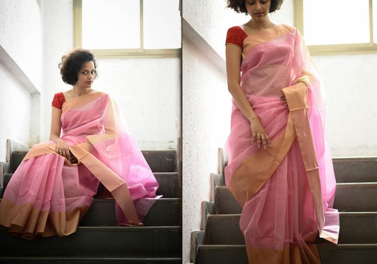 Cotton Sarees - Light pink golden border by Suta - PC12108 - Main