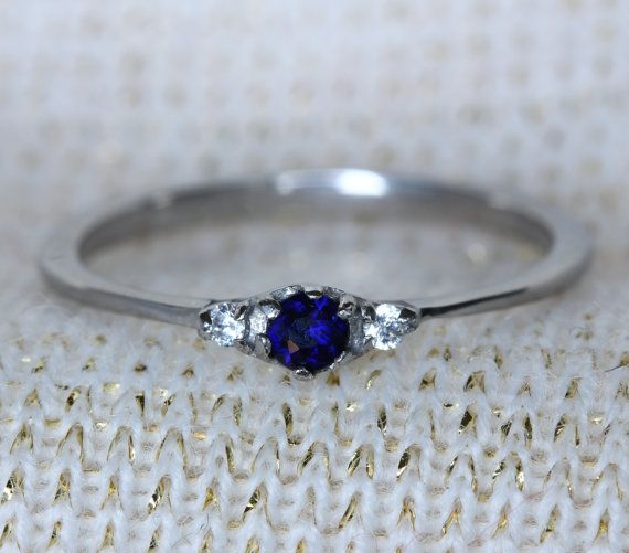 $40 Natural Blue Sapphire and White Sapphire 3 stone Trilogy Ring in White Gold or Titanium  - engagement ring - handmade ring