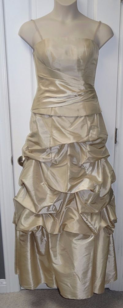 Mori Lee Bridesmaid 2 Pc Long Dress Champagne Gold Spaghetti Strap Sz 12 NWT JB