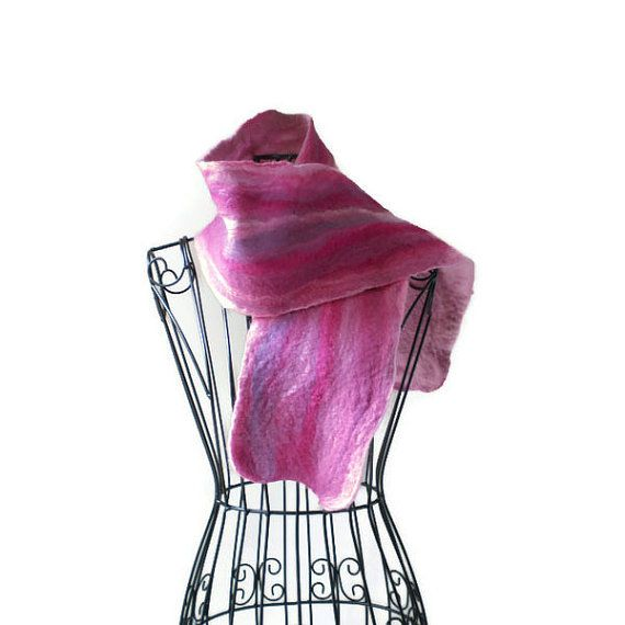 Pink Hand Felted Wool and Silk Scarf by MissTreeCreations on Etsy, $70.00