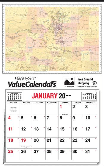 "2017 Colorado State Map Calendar | 22"" x 35"" Apron Calendars 